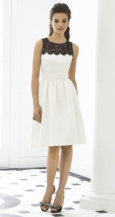 After Six 6644 Dessy Sleeveless Short Bridesmaid Dress with Black Lace at frenchnovelty.com