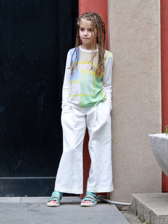 Girls white wide leg trousers/Linen palazzo pants/Toddler girl ...