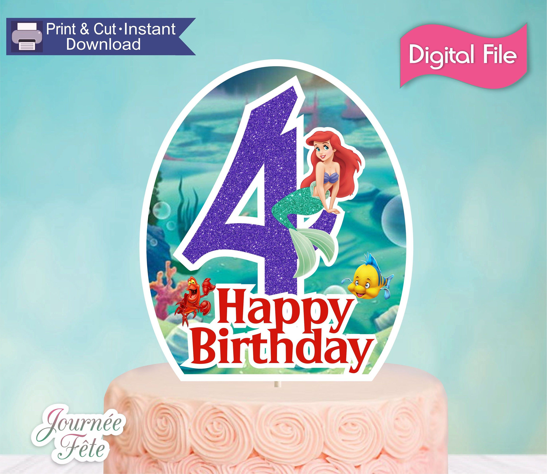 Mermaid themed personalised cake topper