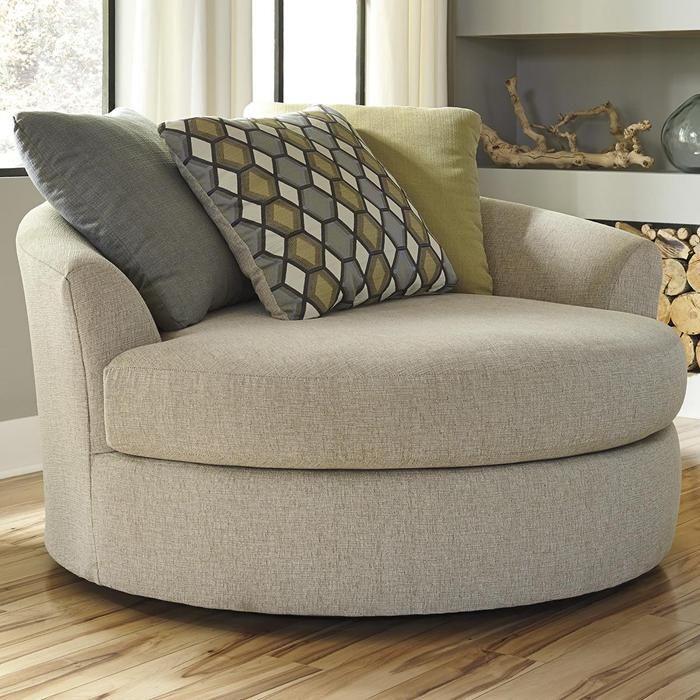 Casheral Oversized Swivel Accent Chair In Linen Wayfair Living