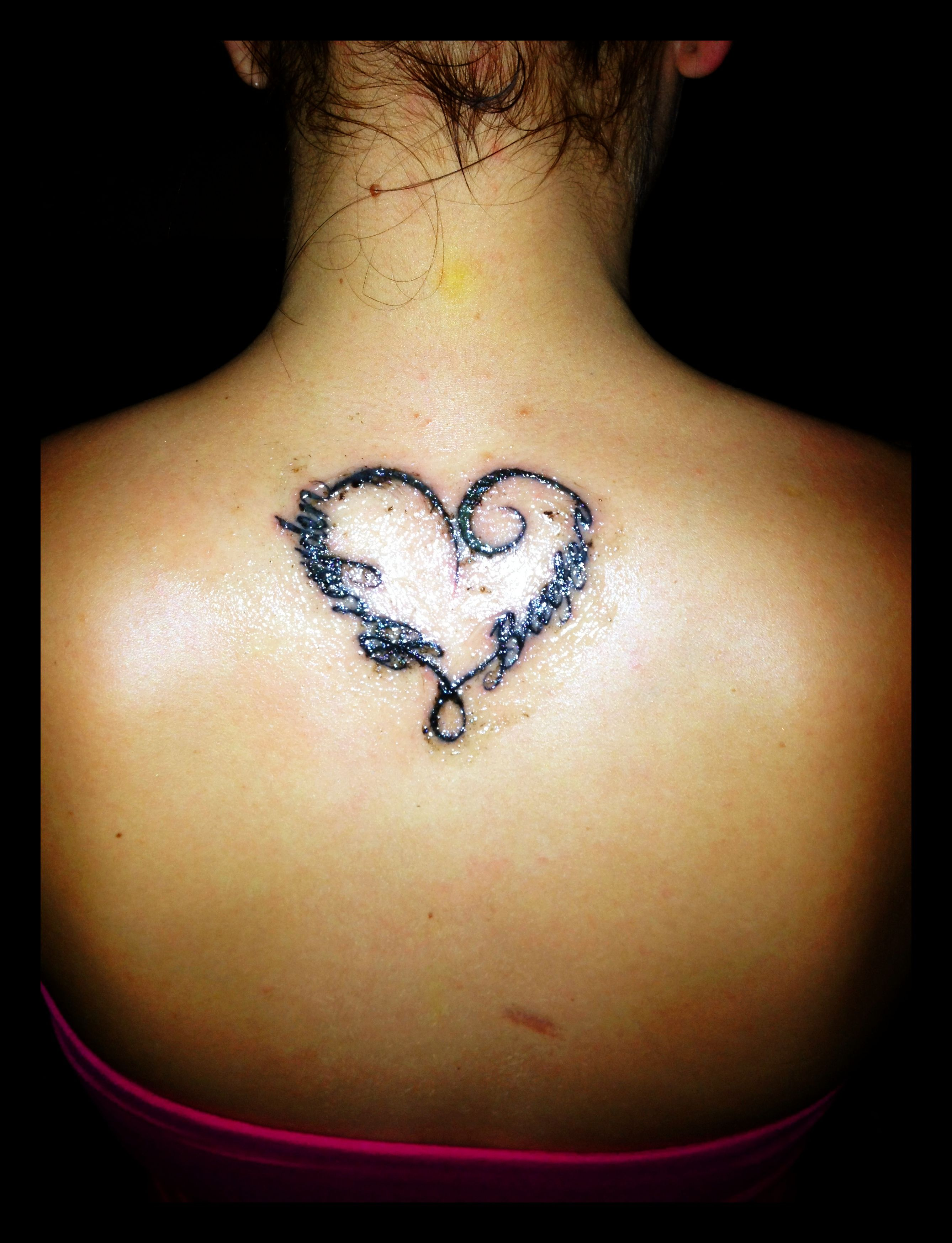 Name Heart Tattoos: Heart Tattoo With Sons Names.
