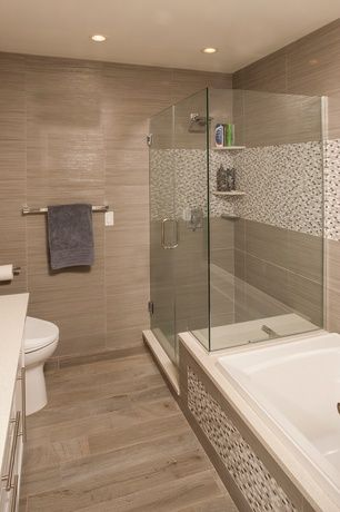Contemporary Full Bathroom with Pental Crystal White Quartz Daltile