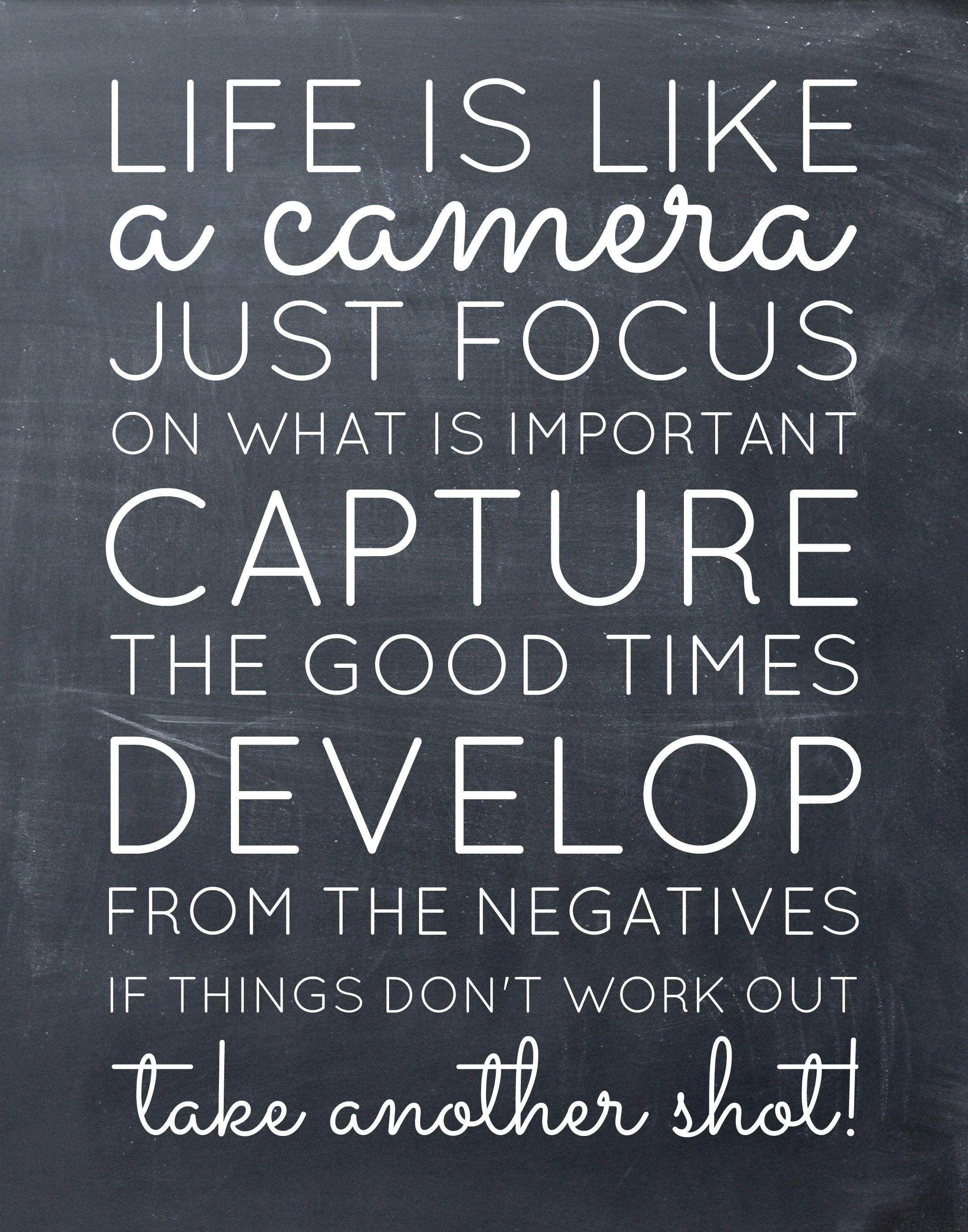 life is like a camera free printable Printable