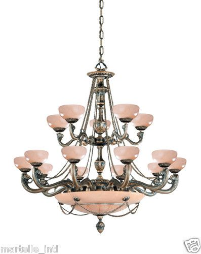 """Large 48"""" Alabaster Chandelier 20 Light 2 Tiers Bronze Finish New Free Shipping 