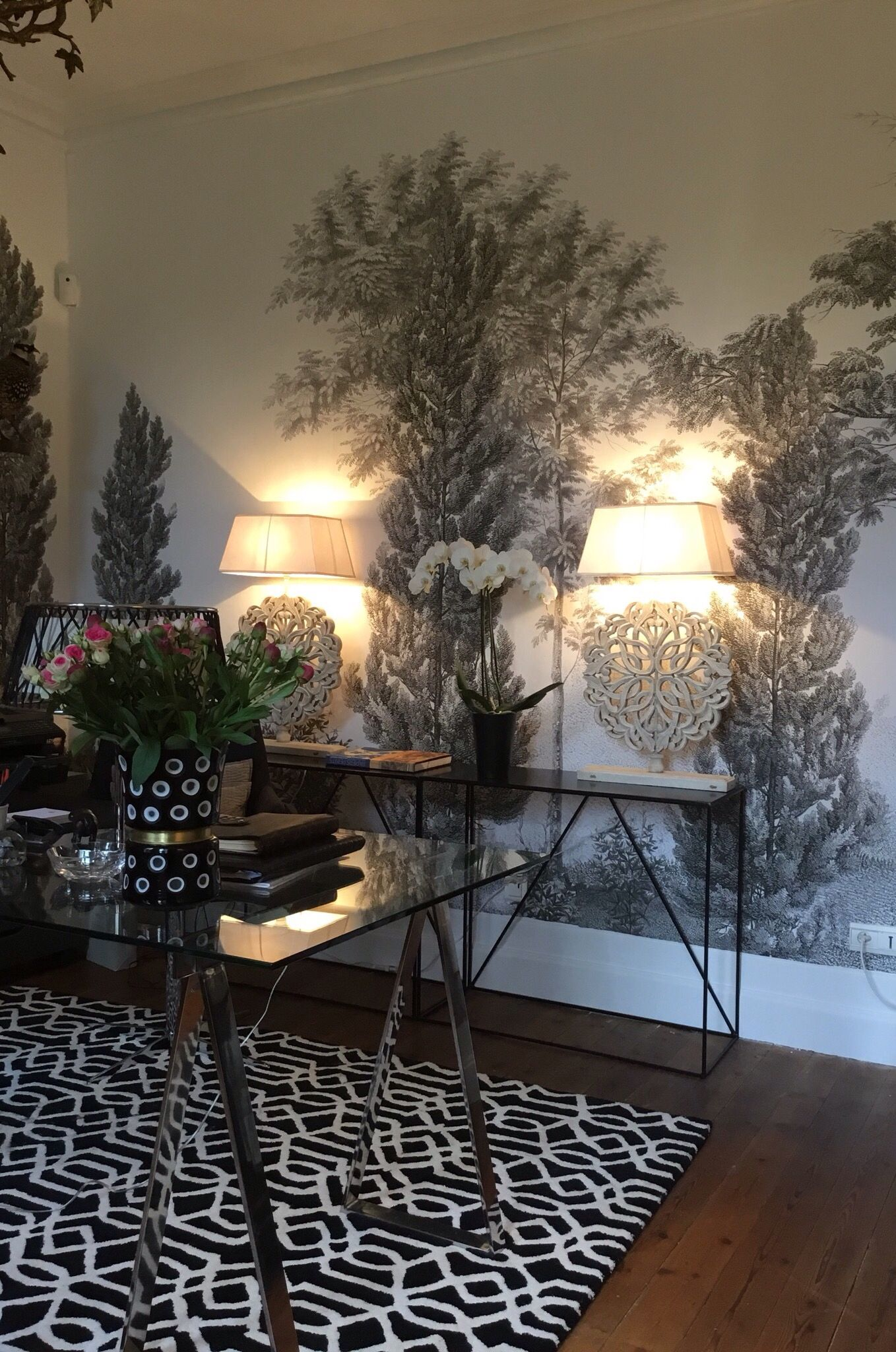 papier peint cypr s et acacias ananb muurkunst pinterest eccentric. Black Bedroom Furniture Sets. Home Design Ideas