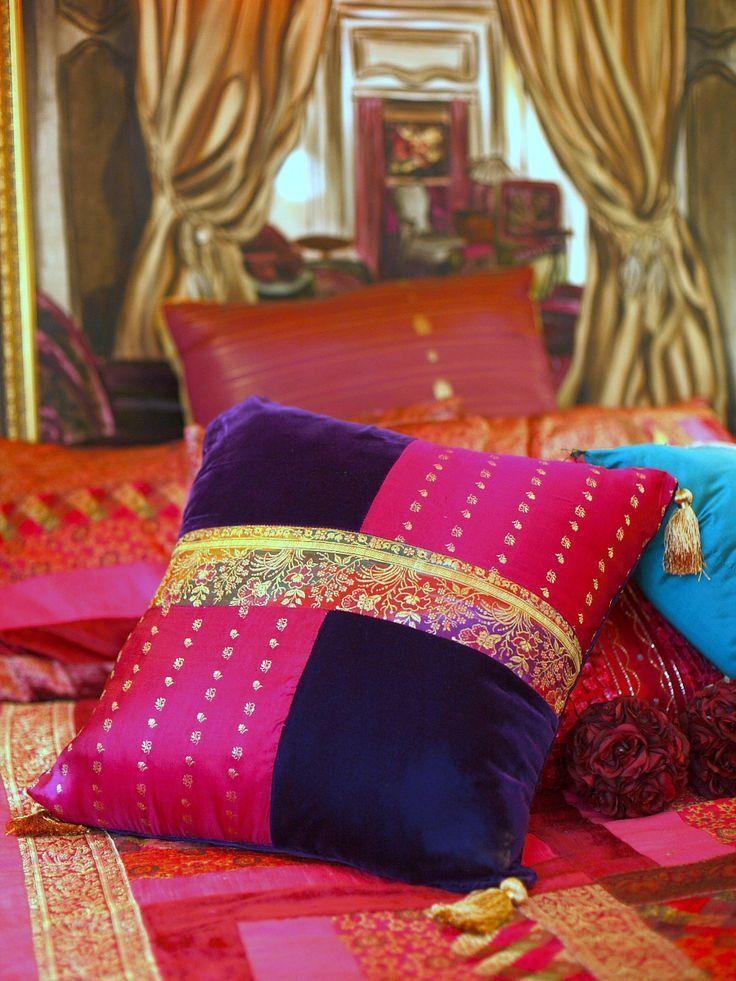 Custom made cushions from sari fabric and original