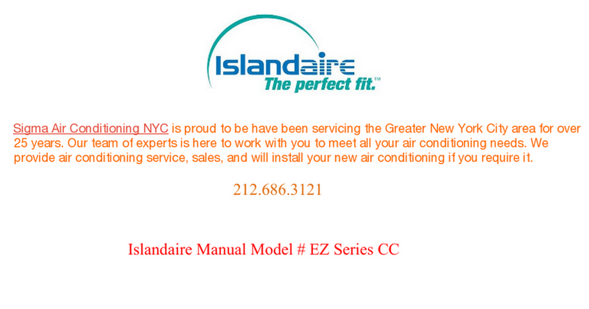 islandaire manual model # ez series cc air conditioning services, manual,  nyc, new