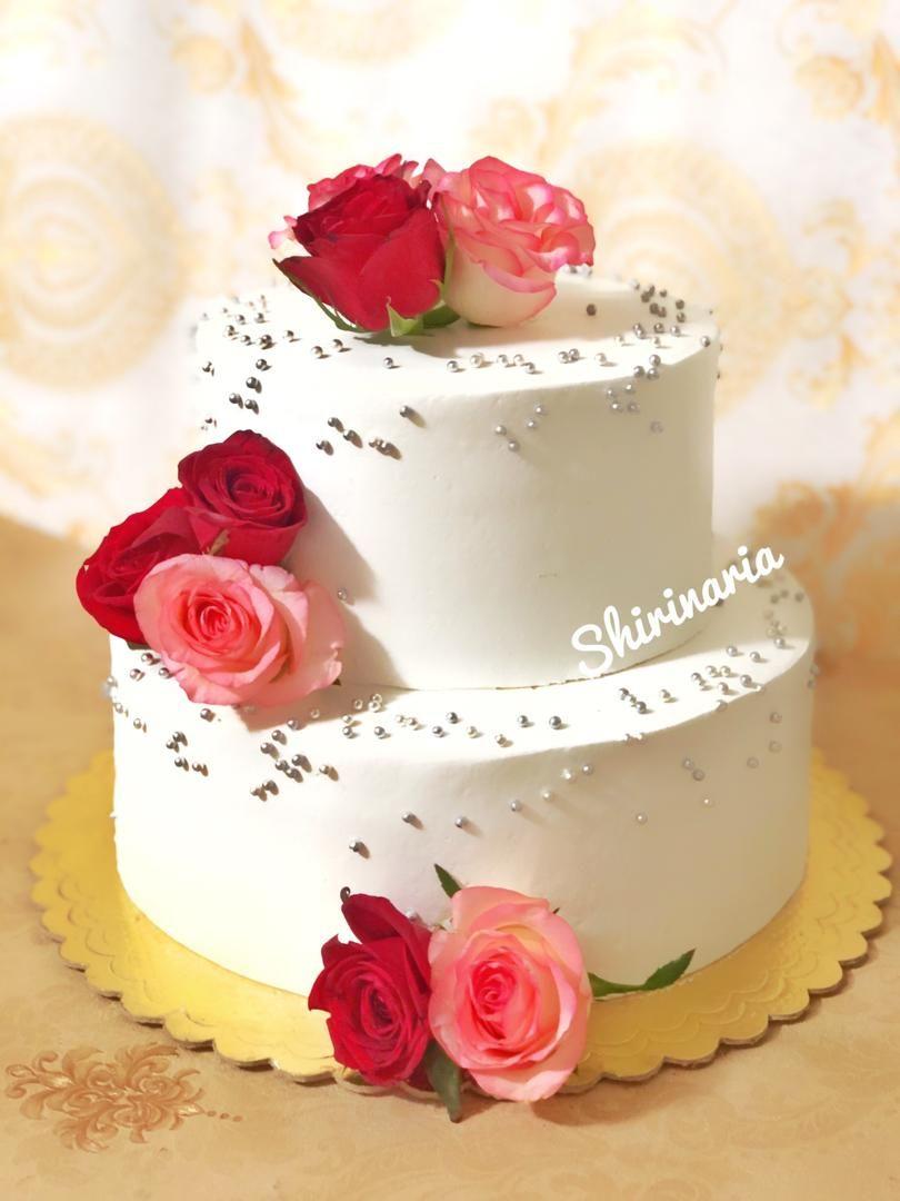كيك عقد دو طبقه Floral Cake Cake Desserts
