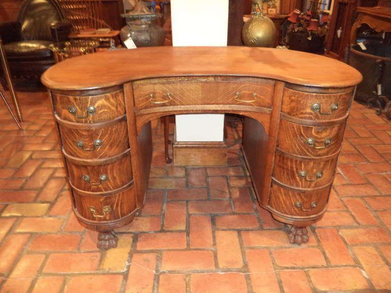Antique Oak Kidney Shaped Desk | From a unique collection of antique and  modern desks at - Antique Oak Kidney Shaped Desk From A Unique Collection Of Antique