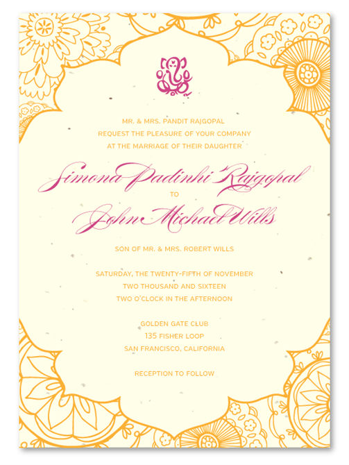 Indian Sacred Colors Wedding invitations on Cream seeded paper