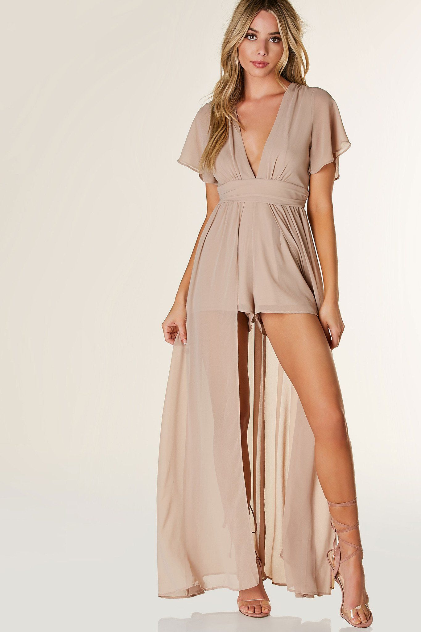 Lightweight chiffon romper with deep V-neckline and flared short ...