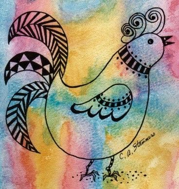 Colorful Chicken // watercolor // bright colors // patterns // painting…