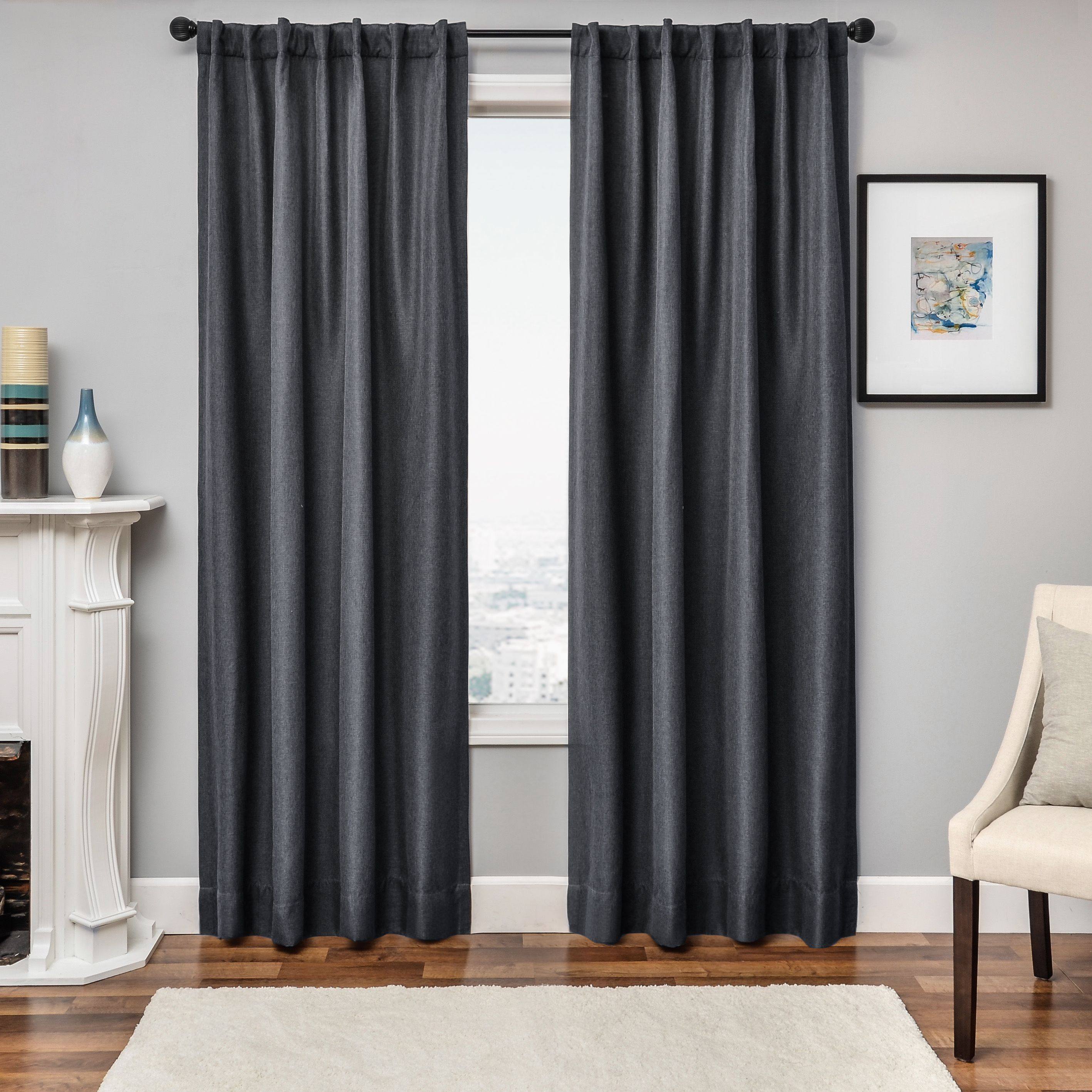 Softline Solara Faux Linen Blackout Curtain Panel 54x96 Charcoal Grey Bt Size 54 X 96 Poly Grey Curtains Living Room Panel Curtains Linen Blackout Curtains