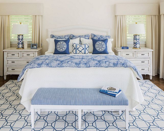 Blue And White Decorating blue and white bedroom. #blueandwhitebedroom kim e courtney