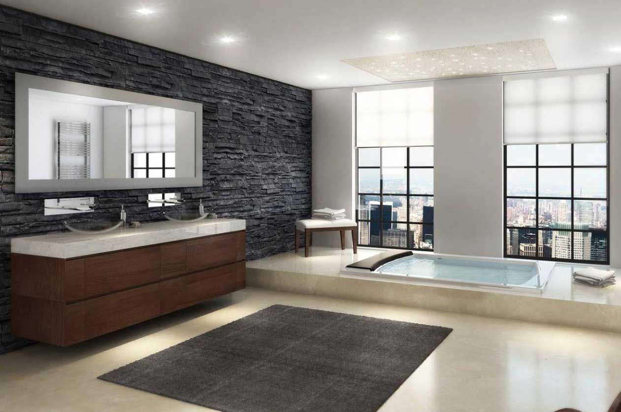 Modern Master Bathroom Design With Black Art Stone