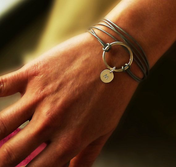 Sterling Silver link w silver color Leather, Wrap Bracelet, Κarma bracelet, Personalized Bracelet, Initial Disc Charm Bracelet