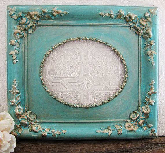 Tiffany Blue Picture Frame Antique Shabby Chic Wall Decor | Tiffany ...