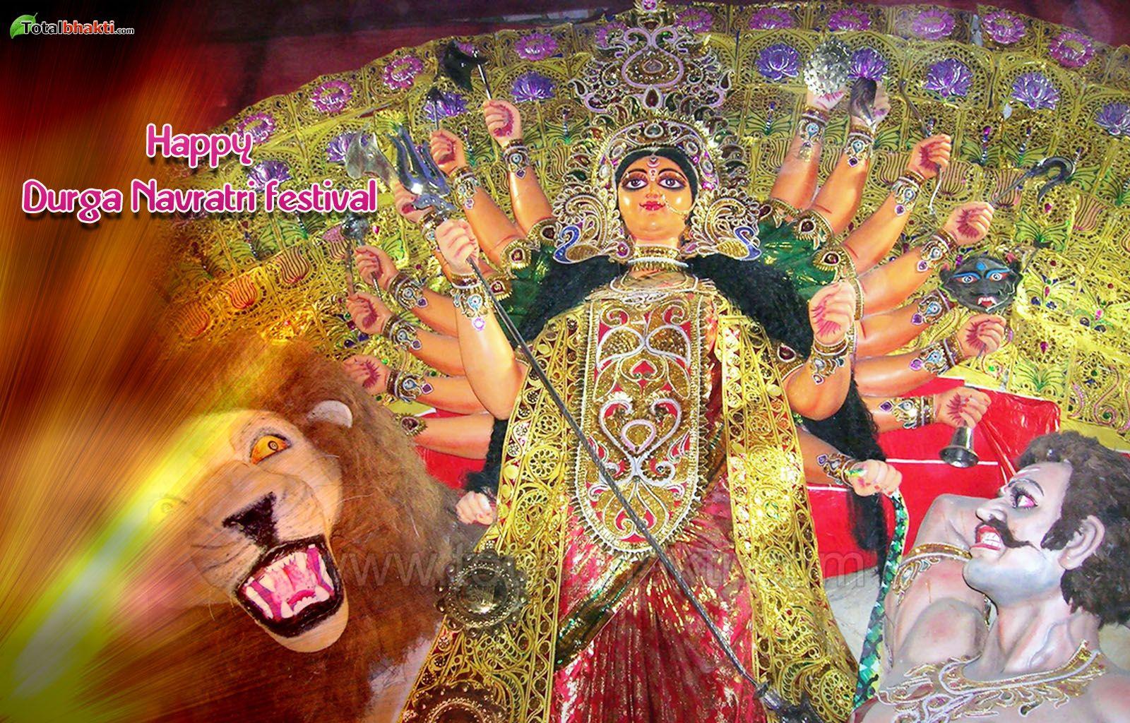 durga wallpaper, Hindu wallpaper, Happy Durga Navratri Wallpaper,, Download wallpaper, Spiritual wallpaper - Totalbhakti Preview