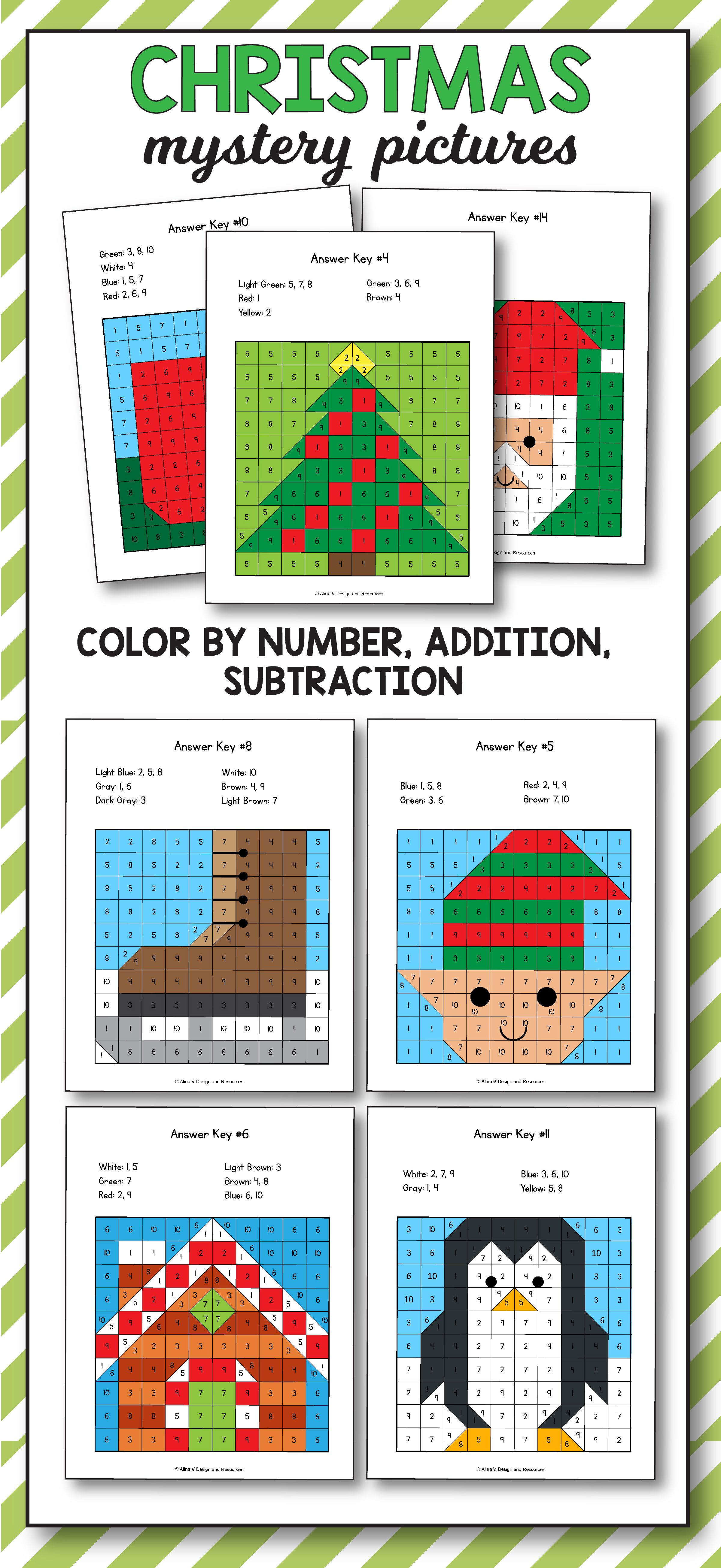Christmas Addition and Subtraction - Christmas Math Mystery Pictures ...