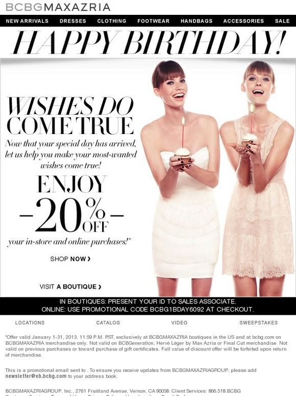 Happy Birthday From Bcbgmaxazria  Bcbg  Email  AutoBirthday