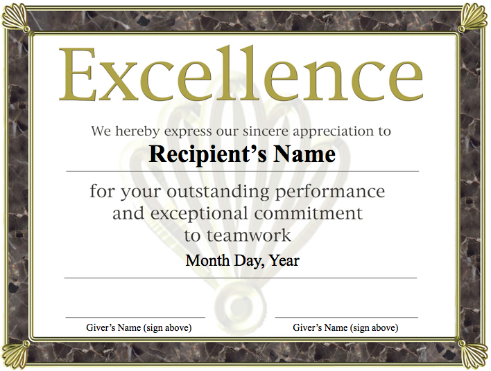 Free Printable Award Certificate Template – Certificate of Excellence Template Word