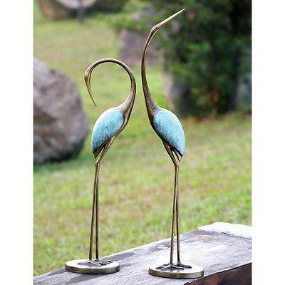 Outdoor Garden Statues Bird Metal Blue Crane Pair Landscape Yard Art Lawn  Patio