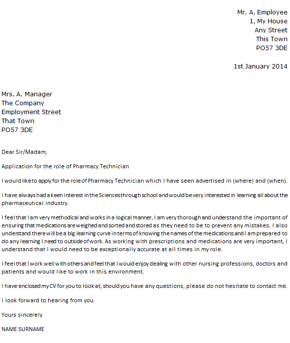 Pharmacy Technician Cover Letter Example Icover Outstanding Sample Pharmacist Letters