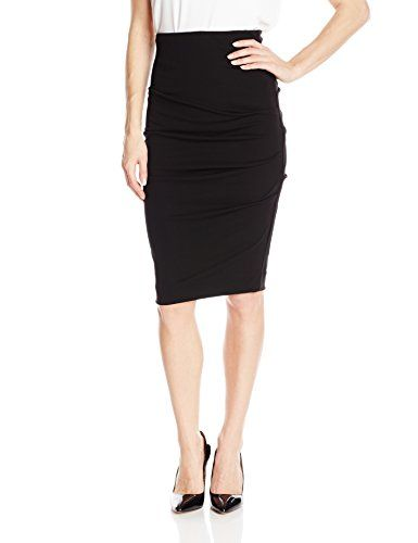 Nicole Miller Women's Stretchy Matte Jersey Tuck Skirt, Black, Small >>> Click image for more details.