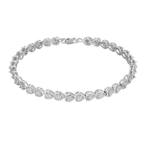 Sterling Silver Heart Shaped with Diamond Accents Tennis Bracelet $176.99