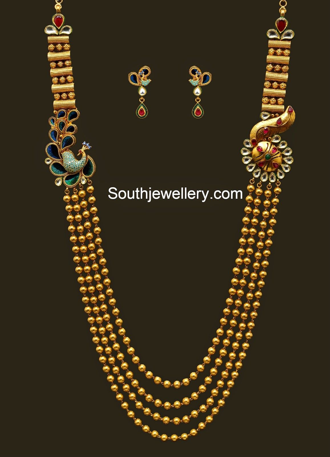 22 carat gold floral designer pendant with multiple beads chain and - Antique Gundla Haram With Peacock Mugappu Jewellery Designs Find This Pin And More On Long Gold Chains