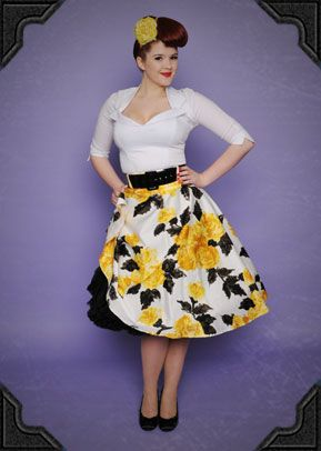 This beautiful 50's swing skirt from Pinup Couture is just fantastic for the warmer weather. We instantly fell in love with the striking retro floral print.       This gorgeous full skirt is pure vintage style in lux cotton sateen, with a wide black vinyl belt to define your waist and a flattering full swing cut. The 50's style floral print is just wonderful in cheerful shades of yellow and black, making the Doris skirt the perfect balance between effortless and elegant.