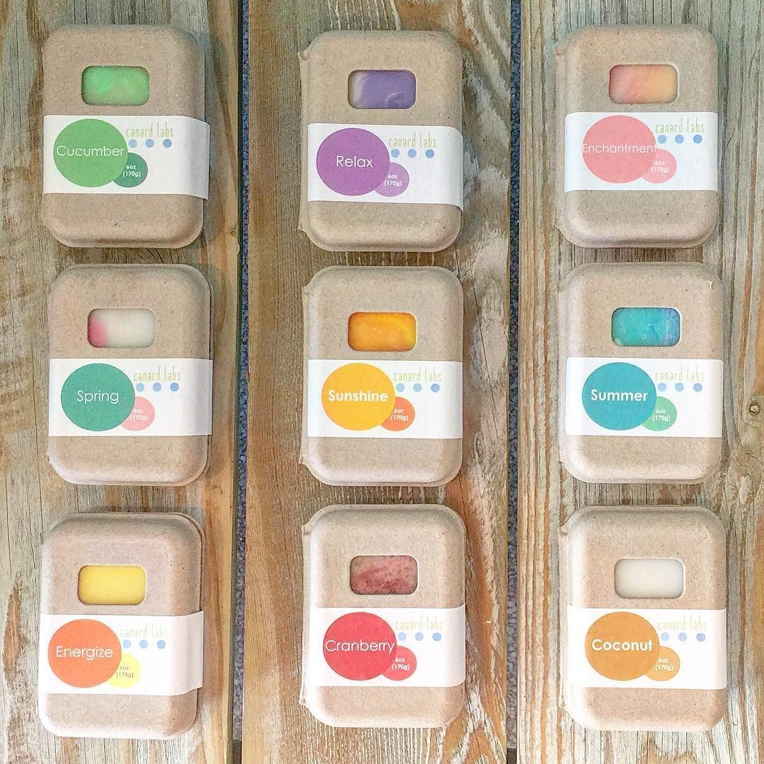 Colorful collection of soap from Canard Labs. Packaged in