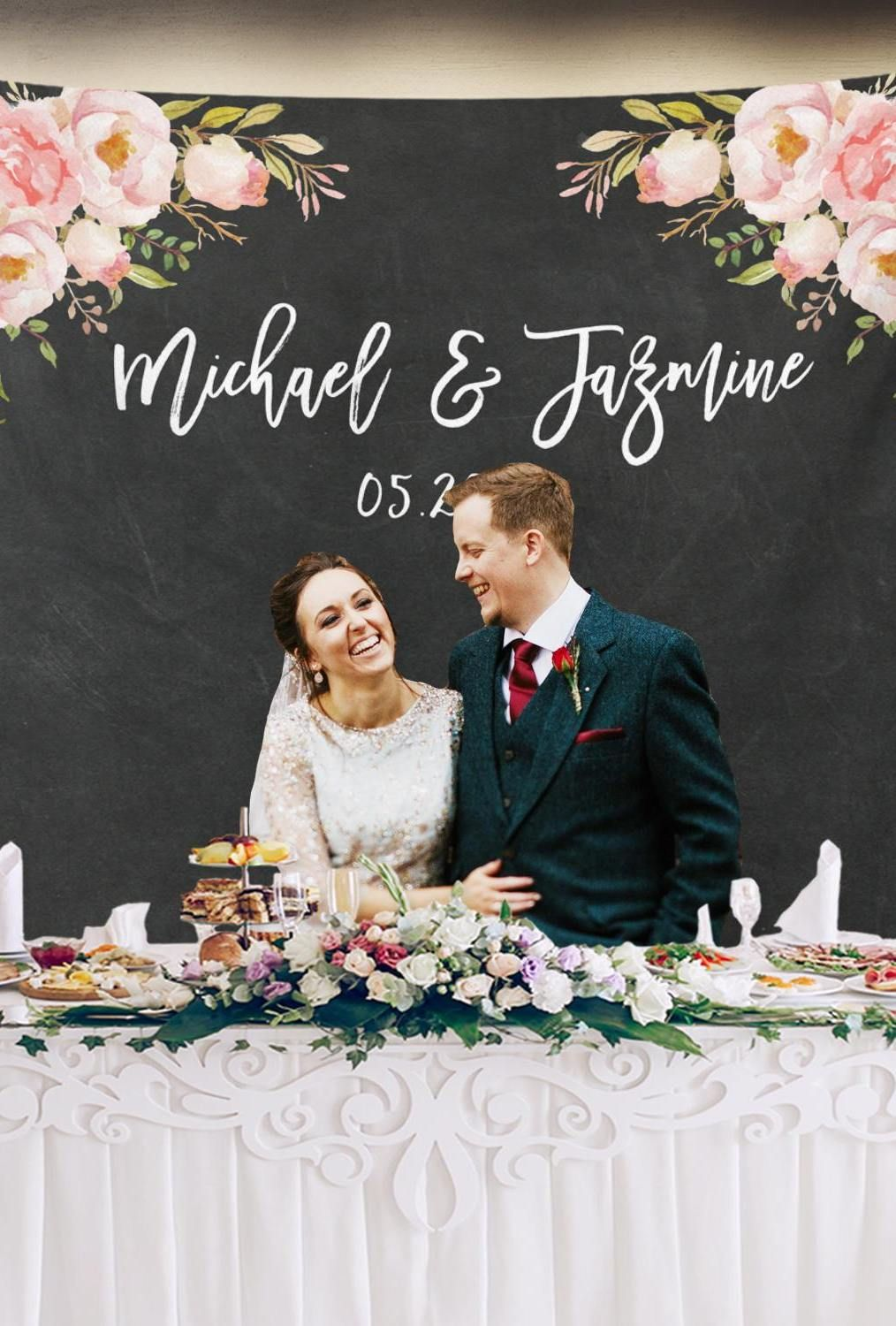 Rustic Wedding Banner Custom Backdrop Ideas Personalized Wedding Backdrop For Reception Sweetheart Table Backdrop Monogram Backdrop Party Decor Paper Party Supplies