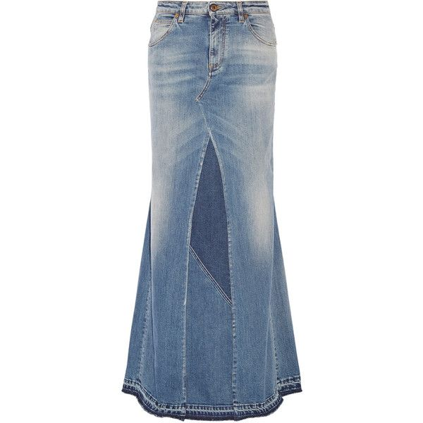 Roberto CavalliPaneled Stretch-denim Maxi Skirt (€620) ❤ liked on ...