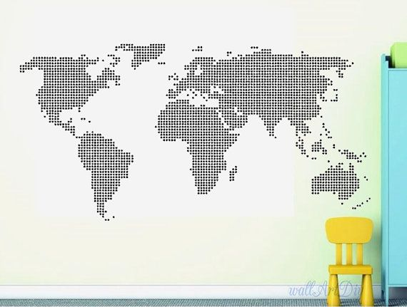 Giant world map wall decal map wall stencils abstract world map giant world map wall decal map wall stencils abstract world map mural dotted world map wall gumiabroncs Image collections