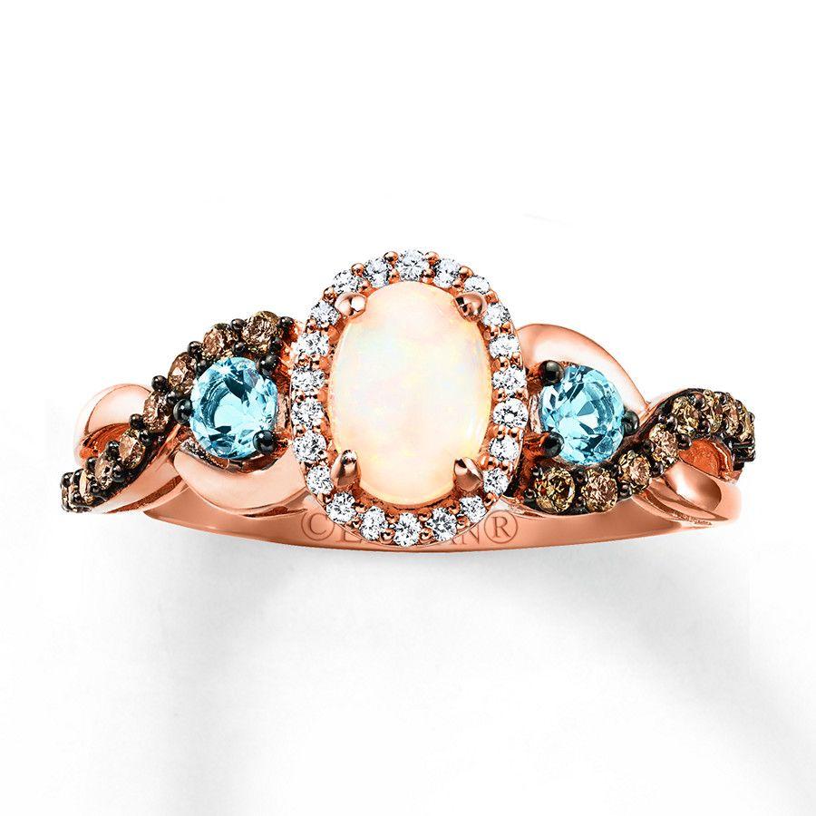 Le Vian Opal Ring 1/4 ct tw Diamonds 14K Strawberry Gold