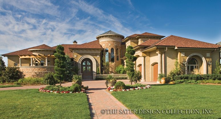front elevation of the sater design collections tuscan luxury home plan villa sabina - Luxury Home Designs Plans