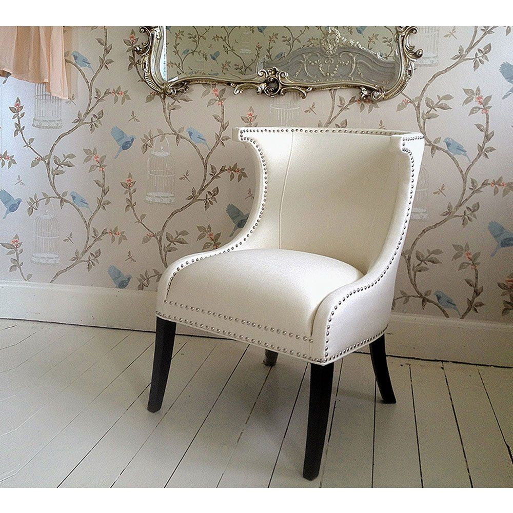 Mayfair Ivory Studded Chair Accent Chairs Bedroom