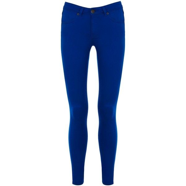 Warehouse Supersoft skinny (33 CAD) ❤ liked on Polyvore featuring pants, bright blue and women
