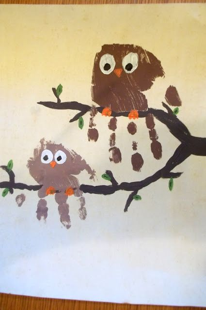 Owl hand prints. Look whooooo loves you or look whoooo misses you; also hungry caterpillar ideas here.