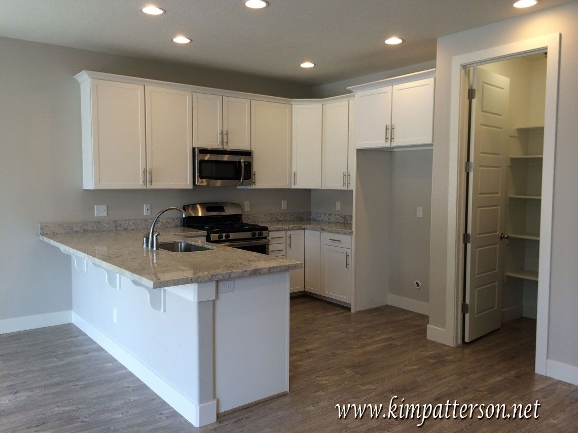 Gray/grey walls, light wood floors, white cabinets and grey ...
