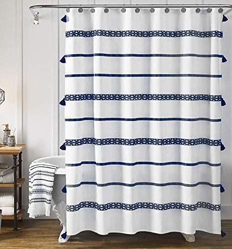 Amazon Com Yokii Extra Long Boho Shower Curtain 78 Inch Blue And White Nautical Striped Tassel Bathroom S In 2020 Boho Shower Curtain Shower Curtain Sets Boho Shower