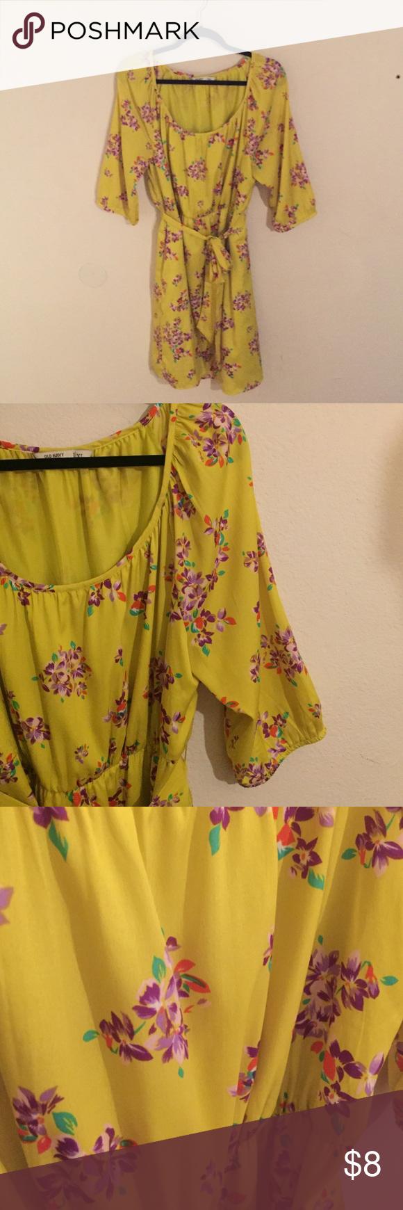 On yellow waist tie dress with purple flowers tie dress yellow on yellow waist tie dress with purple flowers mightylinksfo