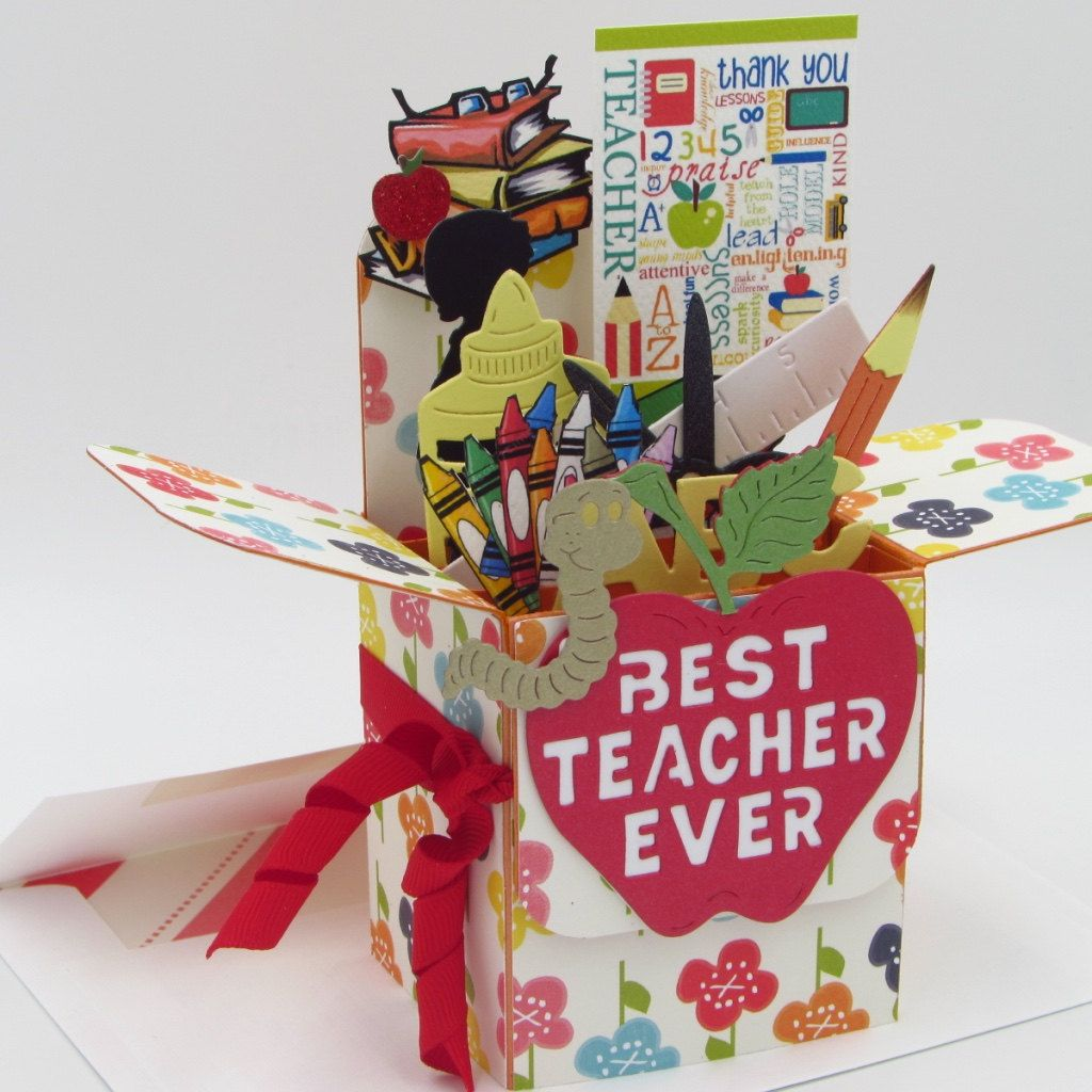Teacher explosion box card handmade card in box greeting card teacher explosion box card handmade card in box greeting card best teacher ever thank you collage free shipping m4hsunfo Gallery