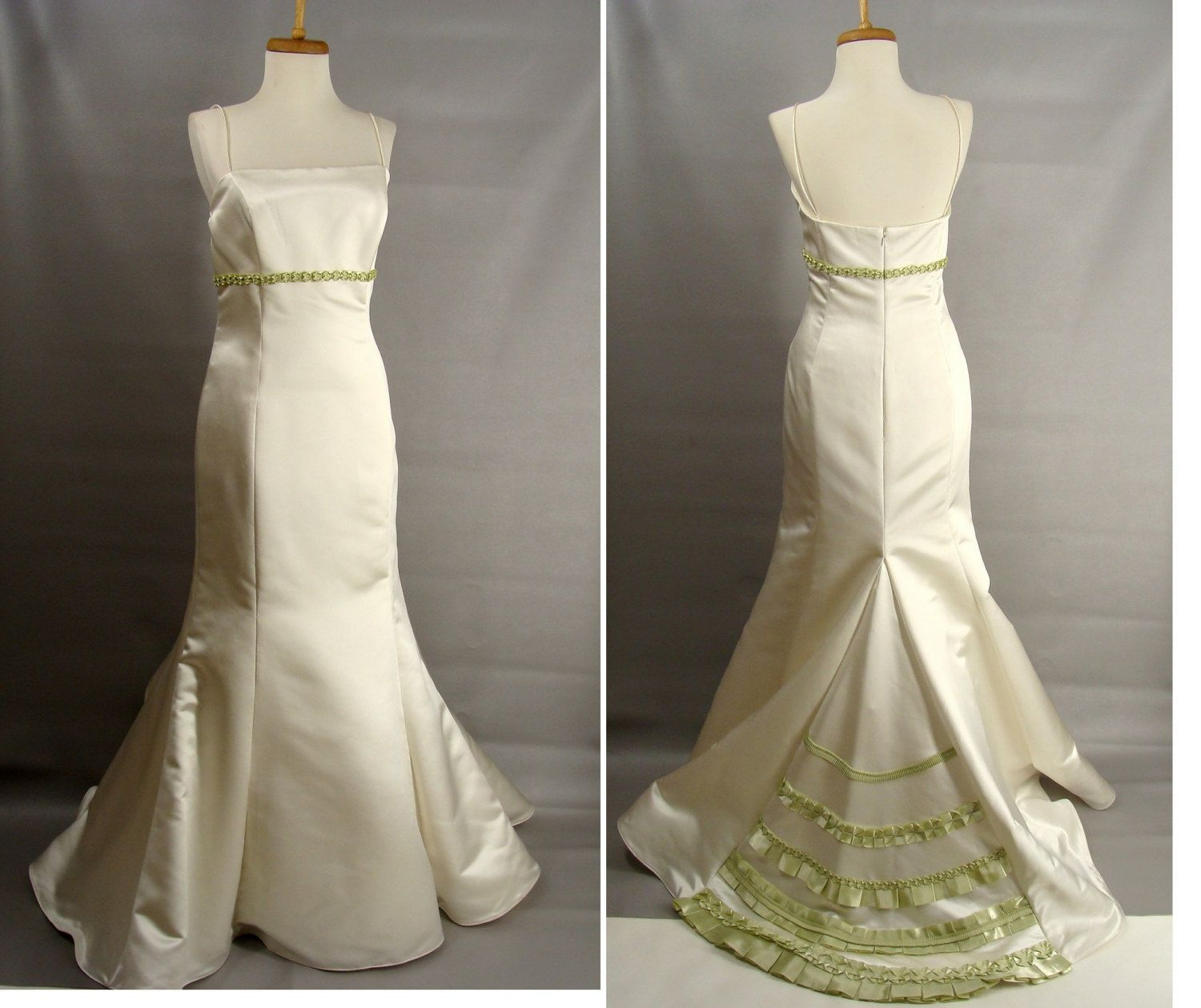 As is trumpet wedding dress short train w gorgeous celery green as is trumpet wedding dress short train w gorgeous celery green ribbon ombrellifo Image collections