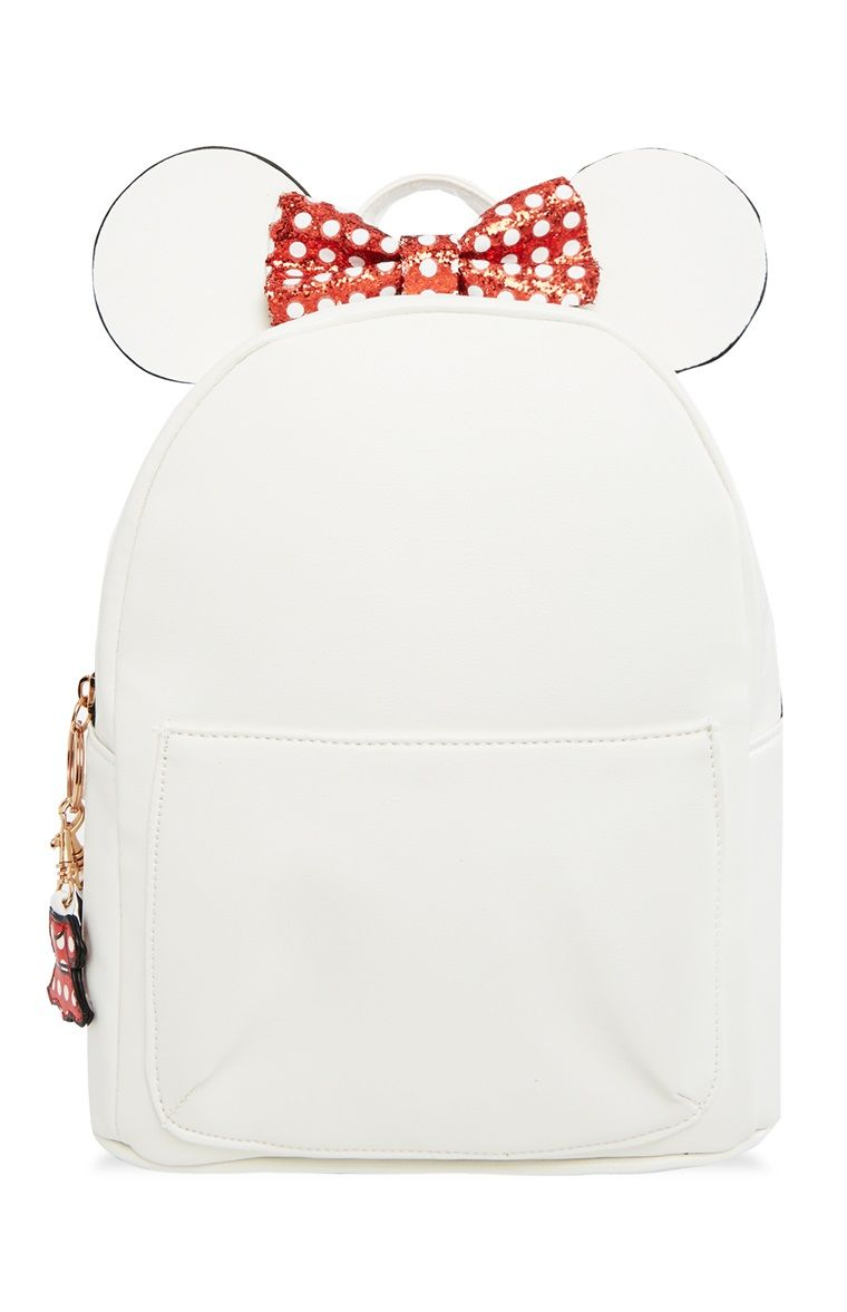 Official Disney MINNIE MOUSE BACKPACK Purse Bag Gold Glitter Bow Sequin Primark