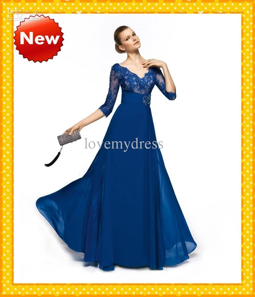 sexy royal blue vneck long lace sleeves empire chiffon