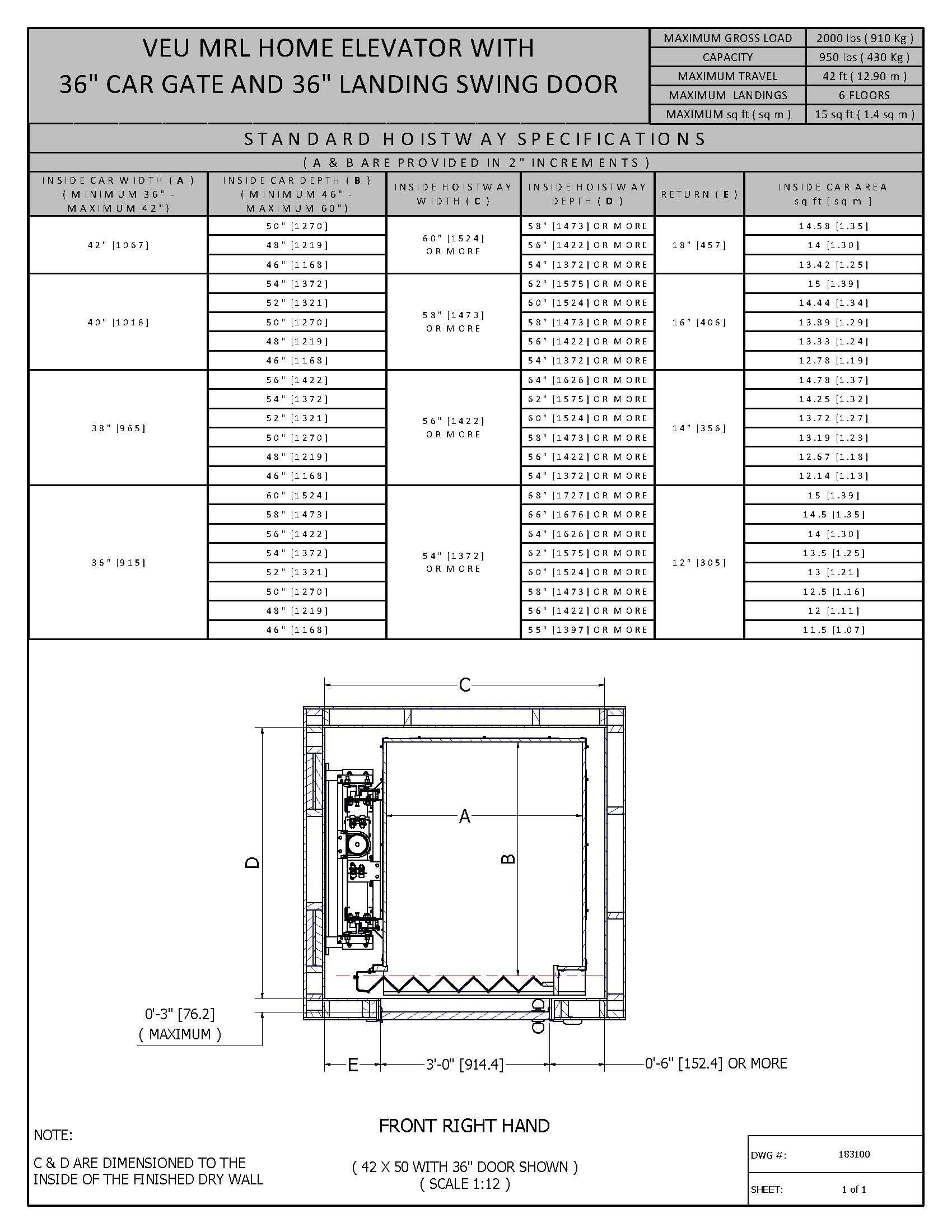 Home elevator dimensions - Hoistway Dimensions T M V I Google