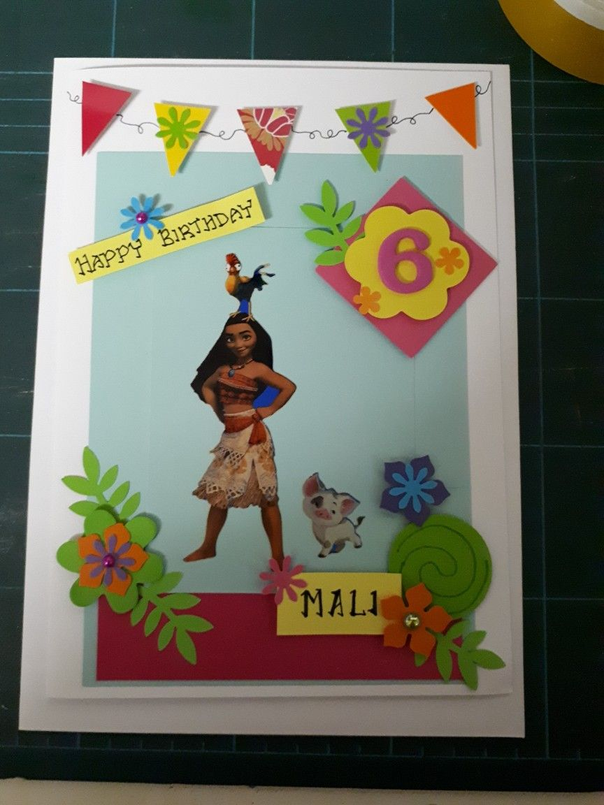 Homemade 6th Birthday Card Moana Flowers Bunting Embellishments Colourful Crafts Birthday Cards Cards