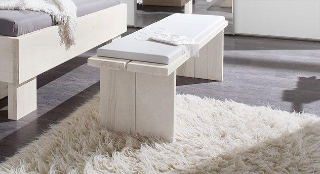 Massivholz-Bettbank mit Kunstleder-Polster Bettende http\/\/www - schlafzimmer in weiß